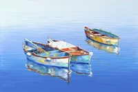 3 Boats Blue 1 Fine-Art Print