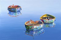 3 Boats Blue 2 Fine-Art Print