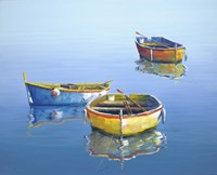3 Boats Blue 3 Fine-Art Print