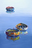 3 Boats Blue Vertical Fine-Art Print