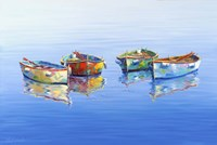 4 Boats Blue Fine-Art Print