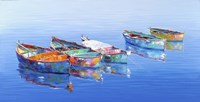 5 Boats Blue Fine-Art Print