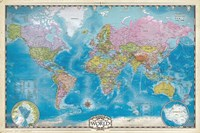 Map of the World with Poles Fine-Art Print