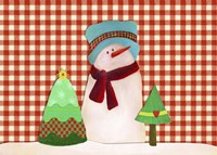 Snowman With Teal Hat With Christmas Trees Fine-Art Print