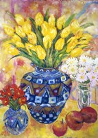 Yellow Tulips In A Blue & Gold Pot Fine-Art Print