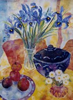 Irises & Dish Of Apples Fine-Art Print