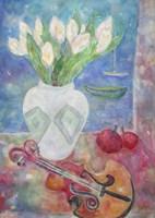 Violin With Flowers Fine-Art Print