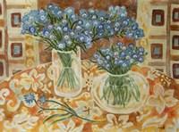 Blue Bouquet On A Gold Hawaiian Cloth Fine-Art Print