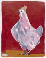 White Hen, Red Background 3 Fine-Art Print