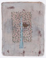 Gold Bird In Square Tree 14 Fine-Art Print