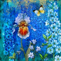 Delphinium And Iris Fine-Art Print