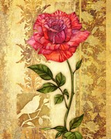 Rose on Golden Background Fine-Art Print
