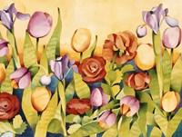 Iris & Tulips/ Yellow Background Fine-Art Print