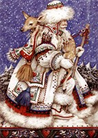 Father Christmas with Deer Fine-Art Print
