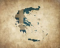 Map with Flag Overlay Greece Fine-Art Print