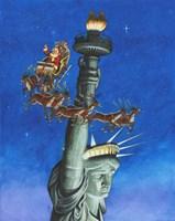 Santa Visits Lady Liberty Fine-Art Print