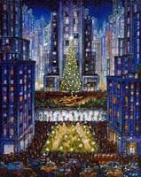 Rockefeller Center 2 Blue Fine-Art Print