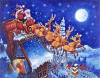Santa Over the Roof Fine-Art Print