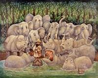 Noah - Elephants-Rhinos-Hippos Fine-Art Print