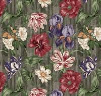 Floral Waltz Textured Scroll Stripe Slate Fine-Art Print