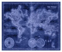 Indigo World Map Fine-Art Print