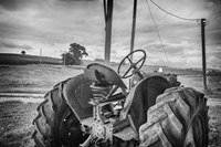 Tractor and Tobacco Field BW Fine-Art Print