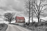 Springs Barn And Road BW Fine-Art Print