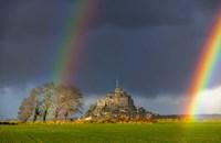 Double Rainbow In Mont Saint Michel Fine-Art Print