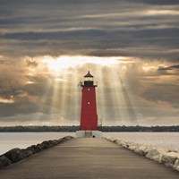 Manistique Lighthouse & Sunbeams, Manistique, Michigan '14 - Color Fine-Art Print