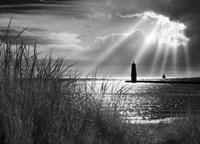 Frankfort Lighthouse and Sunbeams, Frankfort, Michigan '13-IR Fine-Art Print