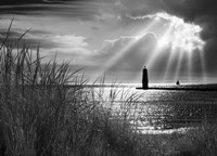 Frankfort Lighthouse and Sunbeams, Frankfort, Michigan '13-IR Fine-Art Print