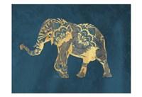 Navy Gold Elephant Fine-Art Print
