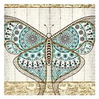 Damask Butterfly Teal 1 Fine-Art Print