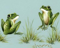 April Showers - Frogs With Grass Fine-Art Print