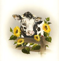 Cow & Sunflowers Fine-Art Print