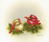 Cardinals And Holly Fine-Art Print