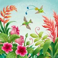 Flowers And Hummingbirds Fine-Art Print