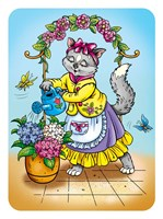 Cat with Flowers Fine-Art Print