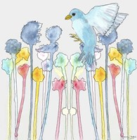 Wildflowers With Bird Fine-Art Print