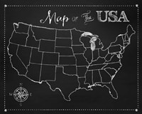 Chalkboard US Map Fine-Art Print