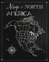 Chalk Map Of North America Fine-Art Print