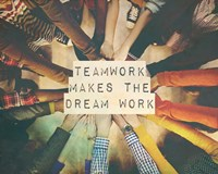 Teamwork Makes The Dream Work Stacking Hands Color Fine-Art Print