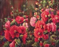 Grandmother's Hollyhocks Fine-Art Print