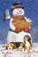 Snowman, Birds and Beagles Fine-Art Print