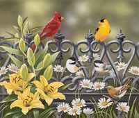 Iron Fence with Lilies Fine-Art Print