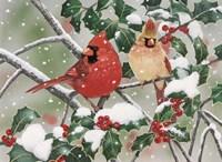 Snowy Perch - Cardinals Fine-Art Print