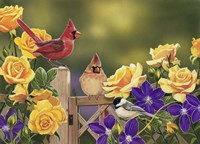 Yellow Roses and Songbirds Fine-Art Print