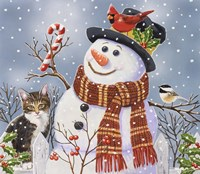 Snowman and Kitten Fine-Art Print