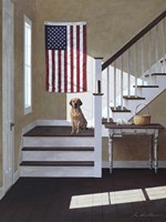 Dog On Stairs Fine-Art Print