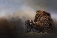 Grizzlies In The Water Fine-Art Print
